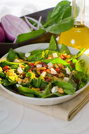 plate of fresh colorfull spinach salad close up photo