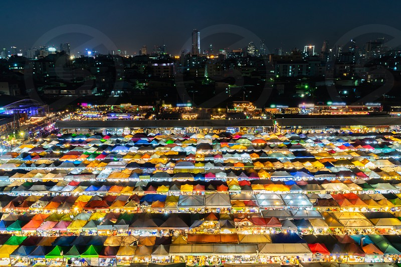 Colorful night market called Train Market at Ratchada Bangkok Thailand. photo