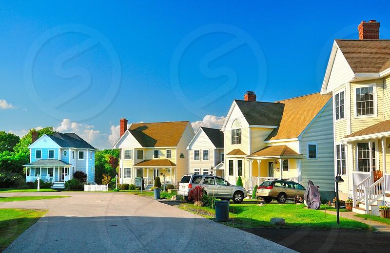 New England Suburb Houses Homes Yard Maine Sky photo
