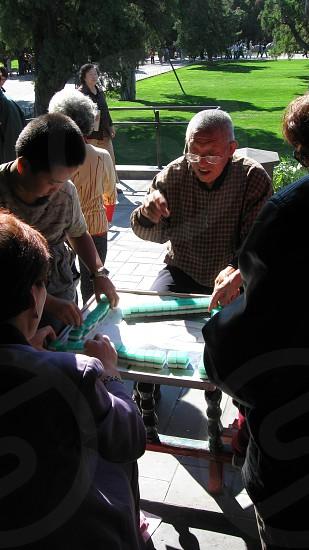 Playing Mahjong in Beijing photo