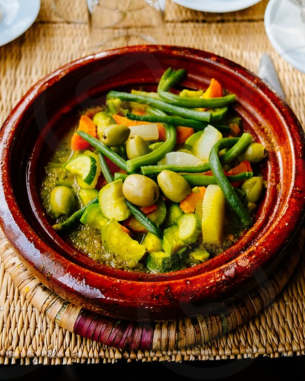 healthy health eat food dinner supper moroccan morocco tajine lifestyle restaurant tasty vegetables vegetable vegetarian carrot olives haricots courgette photo