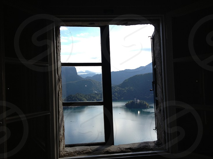 View from window of lake bled  photo