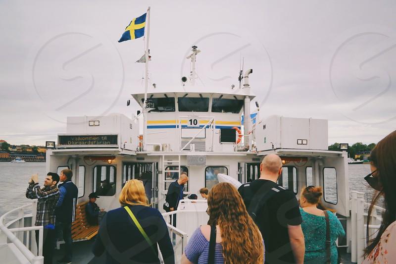 Water transport  water transportation  people passengers travel ferry line  tourists sea  photo