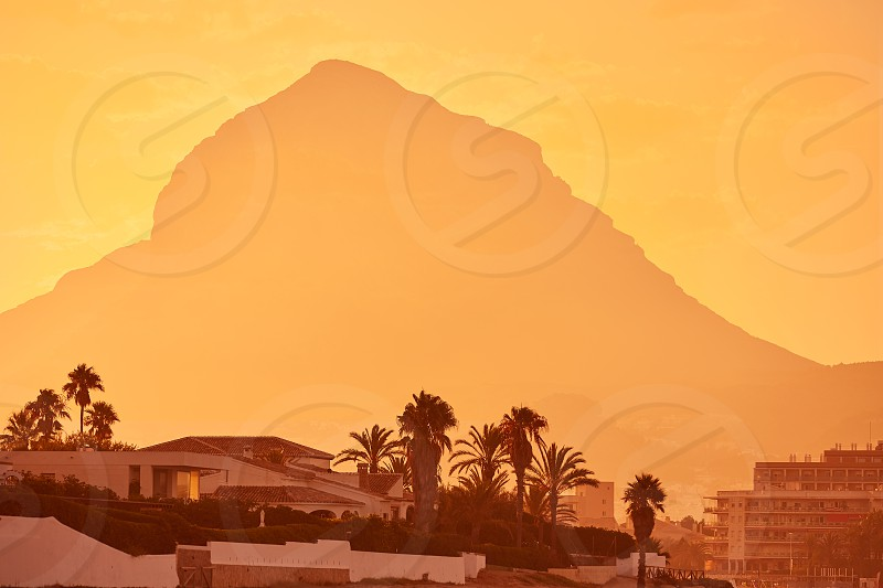 Javea Xabia sunset with Montgo mountain in Alicante at Spain photo