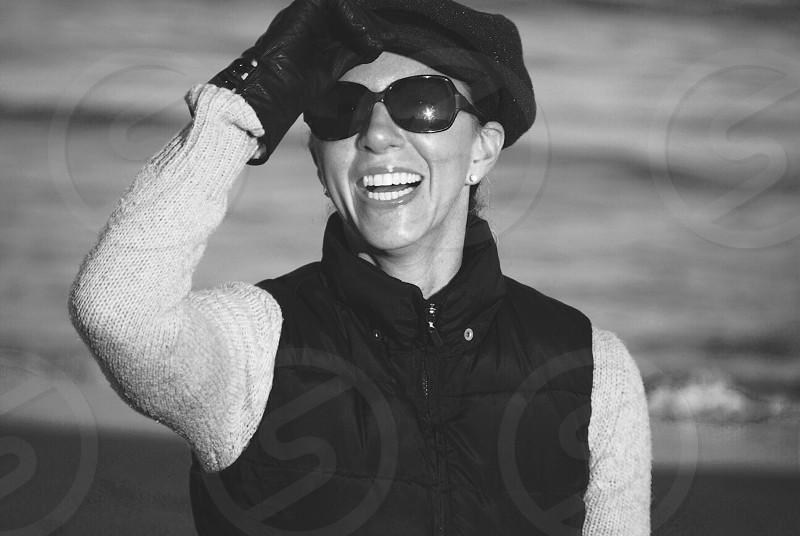 women's black rimmed sunglasses photo