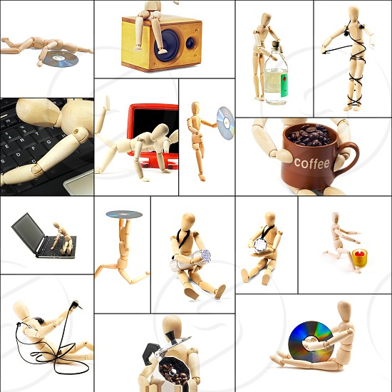 different pose and concepts wood mannequin collage collection photo