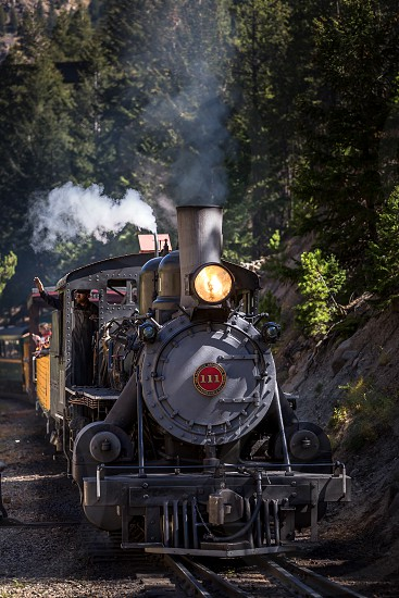Georgetown loop in a historic steam engine train photo