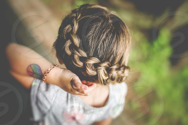 summer hair braid girl child peace tattoo photo