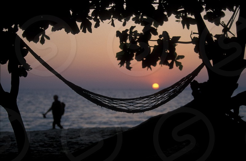 the beach at the coast of the Town of Sihanoukville in cambodia in southeastasia.  photo