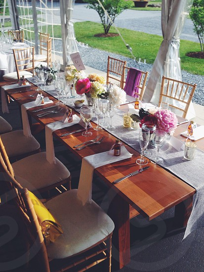 Beautiful table setting at a wedding in the Vermont countryside.  photo