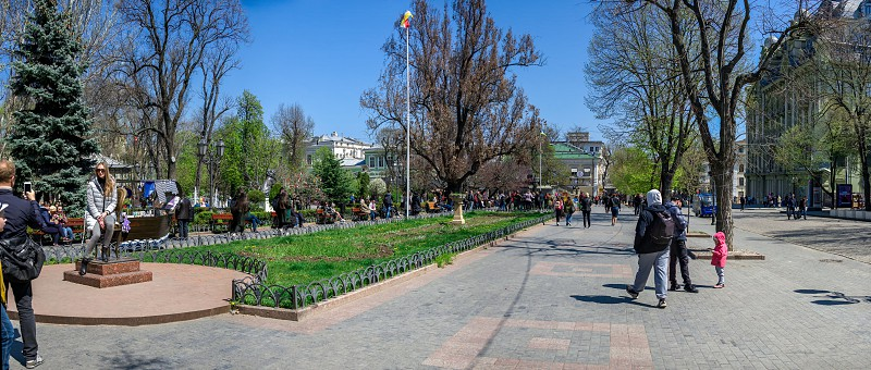 Odessa Ukraine - 04.20.2019. Springtime in the City garden the historic center of Odessa Ukraine photo