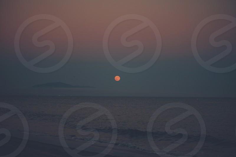 Beach full moon Santa Barbara California photo