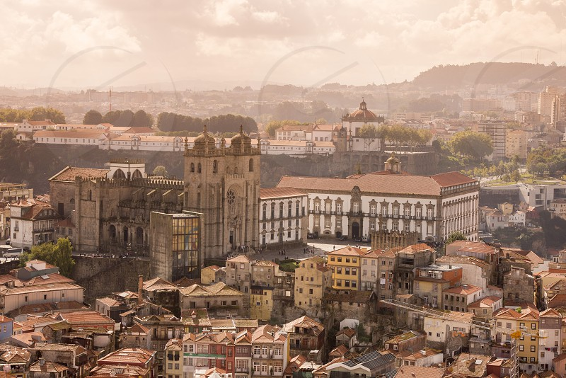 the cathedral se in ribeira in the city centre of Porto in Porugal in Europe. photo
