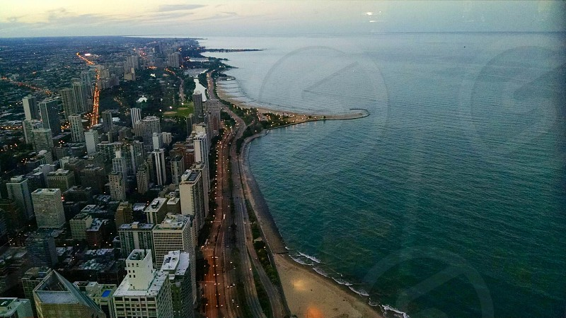 Chicago The Great Lakes Cool Temperature Half Lake and Half City Street Lights Beach Defined Lake photo
