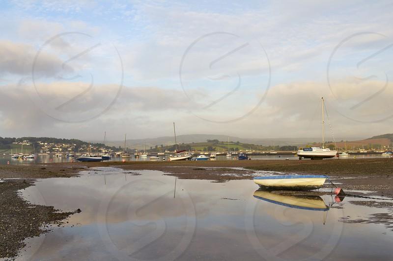 The Exe Estuary on a still morning. Taken in Exmouth Devon UK. photo