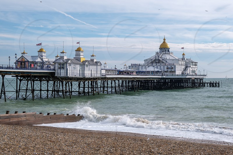 EASTBOURNE EAST SUSSEX/UK - NOVEMBER 4 : View of Eastbourne Pier in East Sussex on November 4 2018. Unidentified people photo