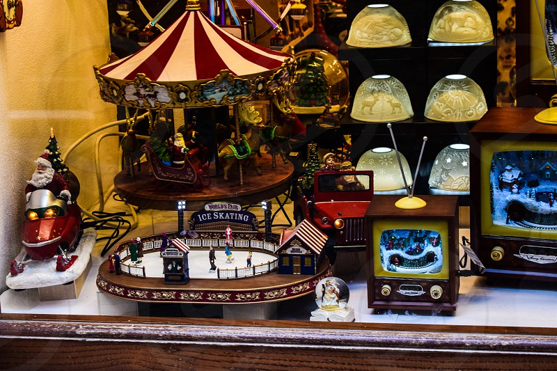 Showcase of a toy store with antique toys photo