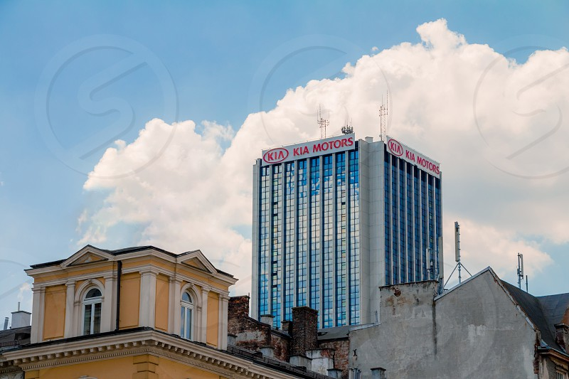 Warsaw Poland - May 31 2018: High office building of the KIA motors company in the city center. photo
