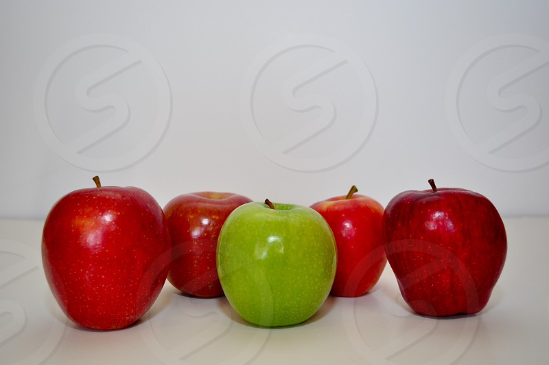 Apple green red bold different fruits food nutrition photo