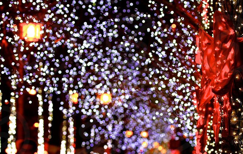 Xmas X Mas Christmas Merry Christmas Christmas Illumination Christmas Lights Christmas Night View Led Lights Season Greeting Sparkling Outdoor City Night View Colorful Shinning Horizontally Long Laterally Long Oblong Bokeh By Carrieq