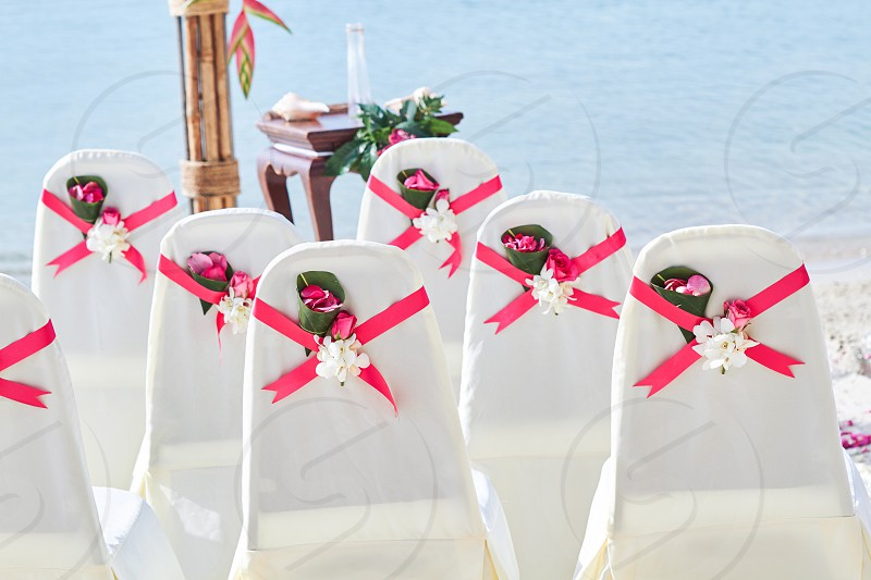 Back side of a group of white spandex wedding chairs cover with red pink organza sash for beach wedding venue settings photo