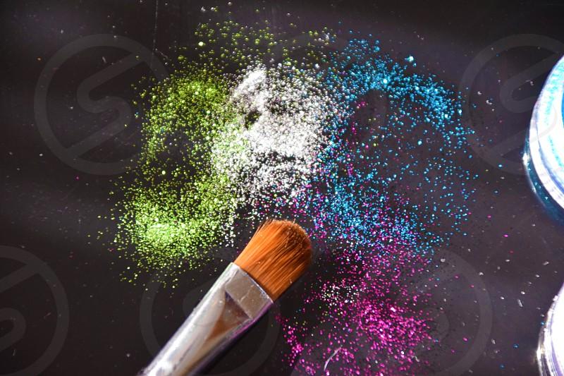 Glitter cplors and brush photo