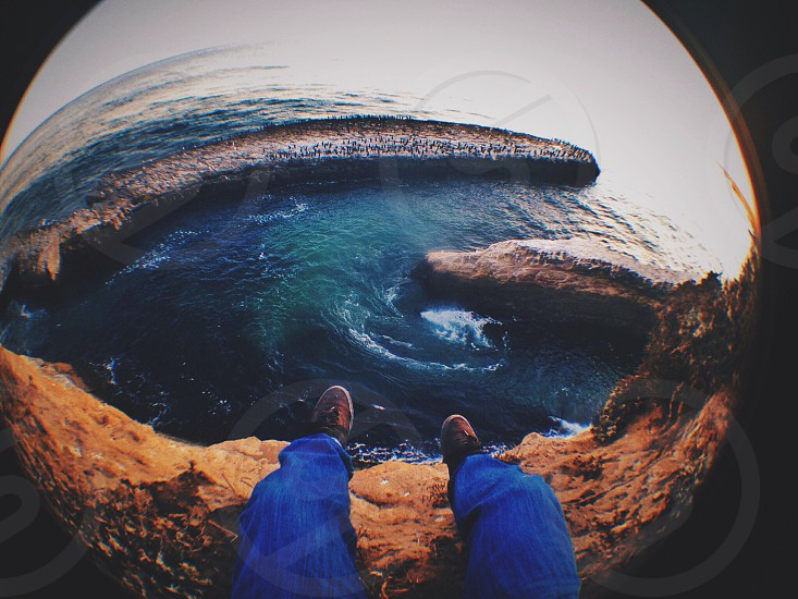 blue denim jeans fish eye view photo