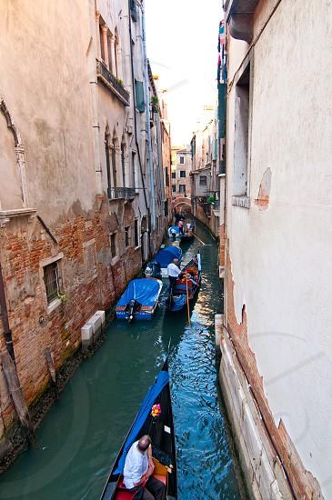 Venice Italy Gondolas on canal  most famous boat  photo