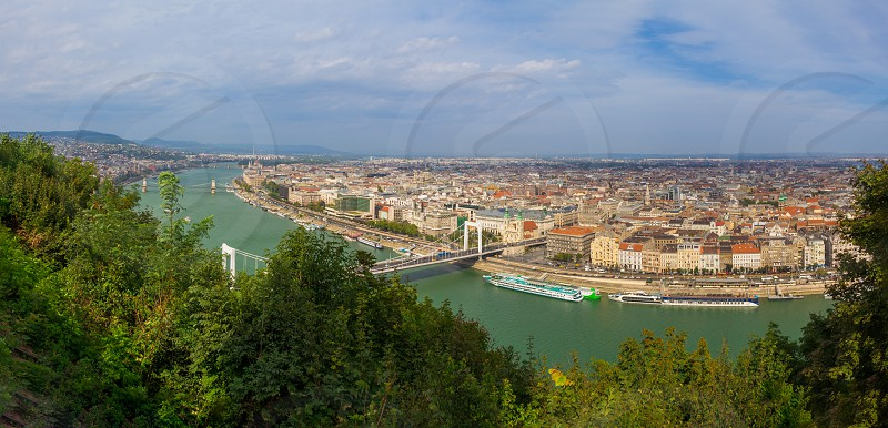 Panorama of the city of Budapest Hungary.