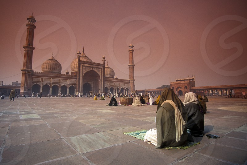 The Mosque Jama Masjid in the city of Old Delhi in India. photo