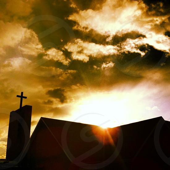 church on sunset view photo