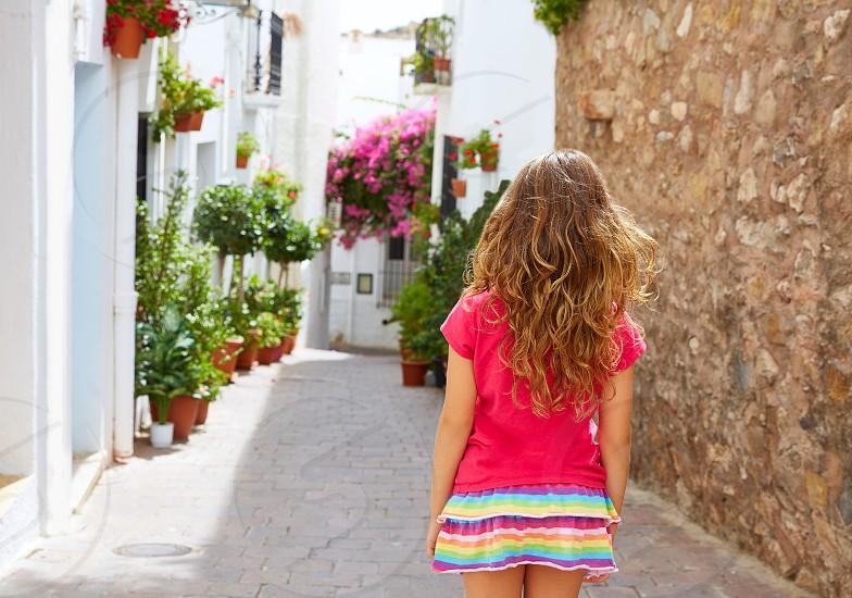 Mojacar Almeria white Mediterranean village girl in Spain photo