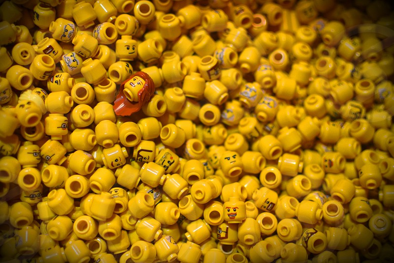 Lego heads yellow faces  photo