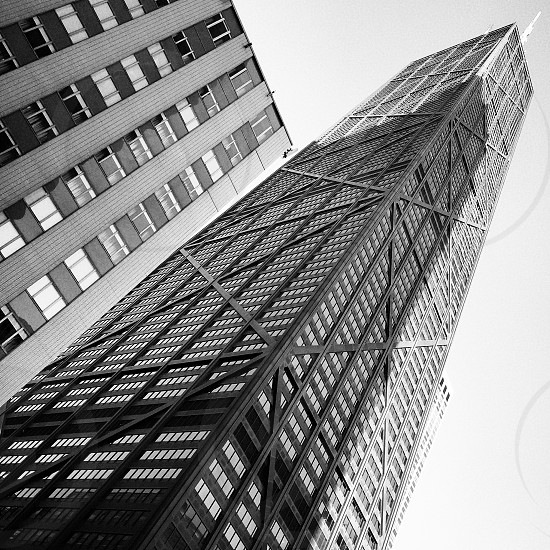 Hancock building black and white edit photo