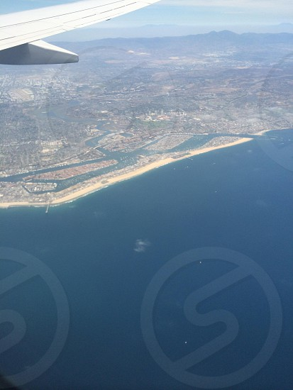 View of Seaside CA from an airplane window.  photo