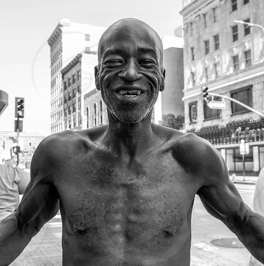 Happy black man.  Street Person. photo