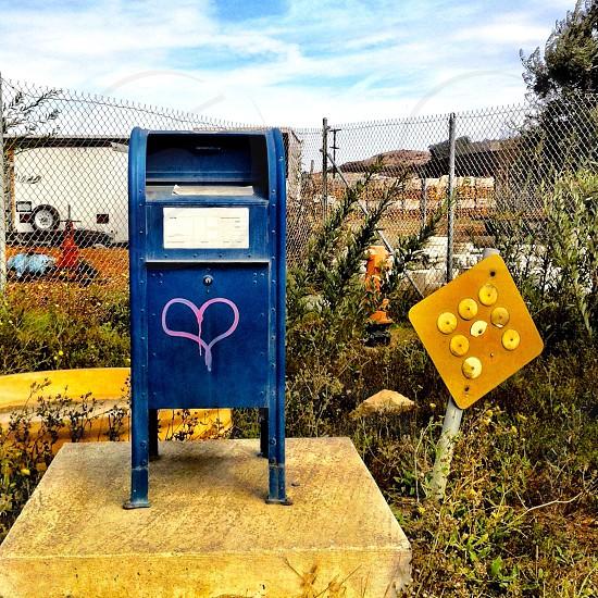 blue metal mail box photo