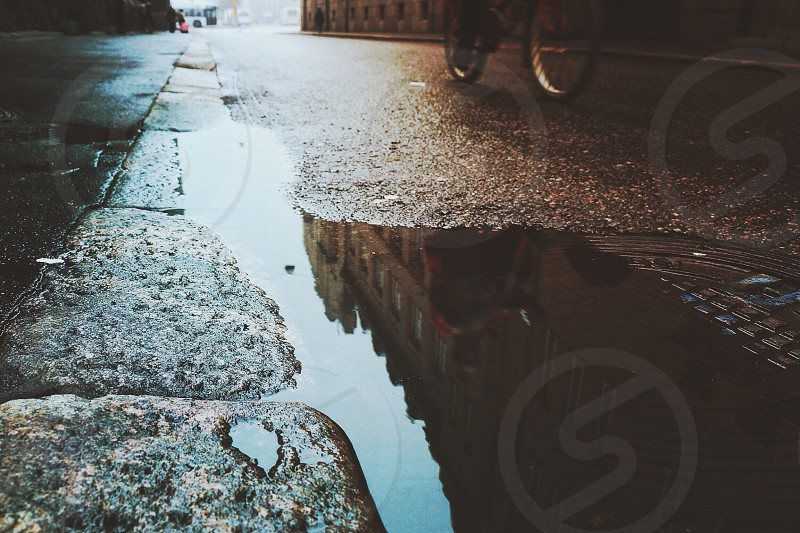 outdoors view along ground with puddle in pavement and bottom of bike wheels photo