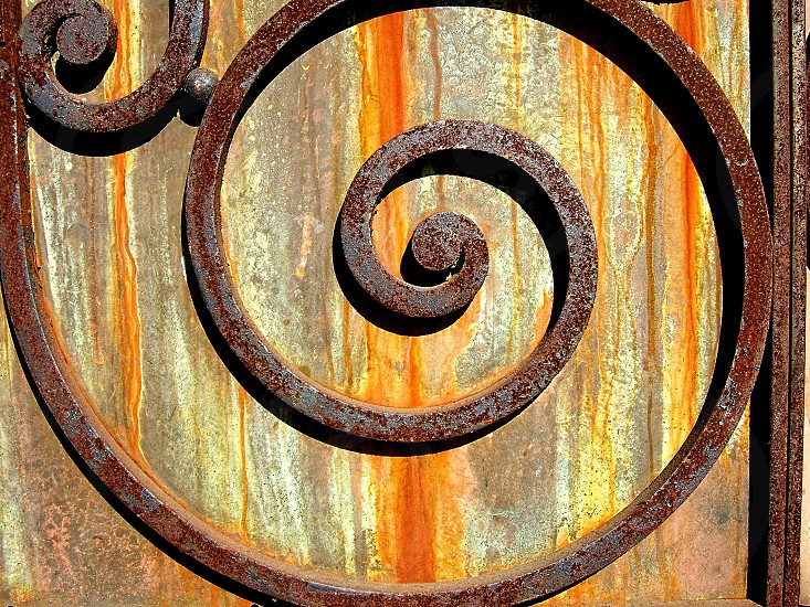 Detail of old metal door with rusty iron spiral design  photo