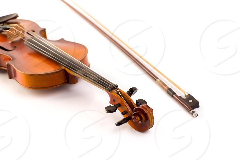 retro violin vintage  on white background photo