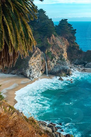 Waterfall big sur beach pch Cali photo
