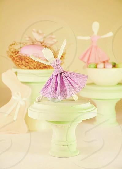 Young Girls Easter Handmade Ballerina's  handmade pink felt Easter bunny Eggs and flowers. photo
