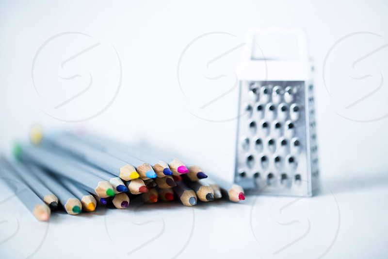 Colored pencils sharpener grater colored colorful sweet cute nice photo