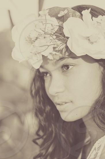 woman ethnic outdoor flower photo
