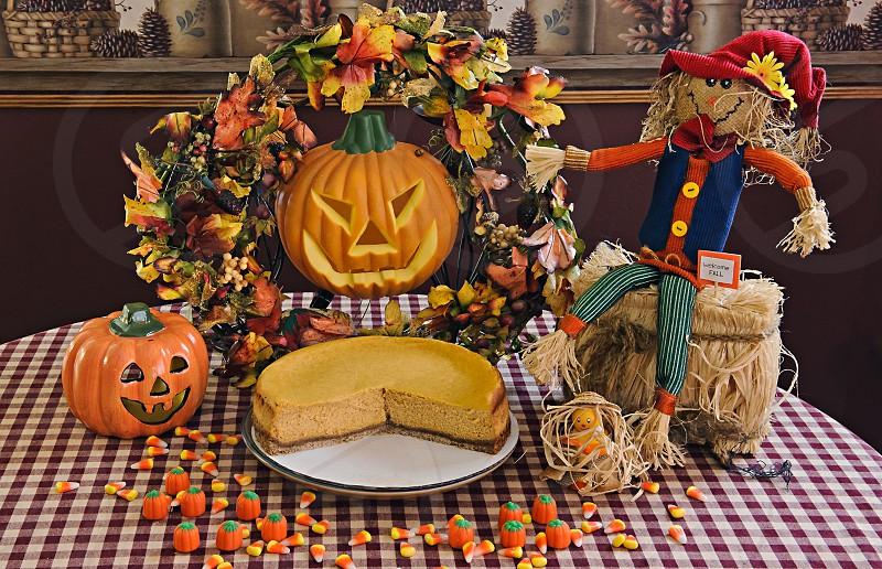 Food Photography - Pumpkin Cheesecake in a fall arrangement. photo