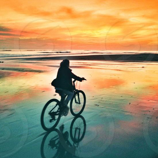 kid bike bicycle sunset photo
