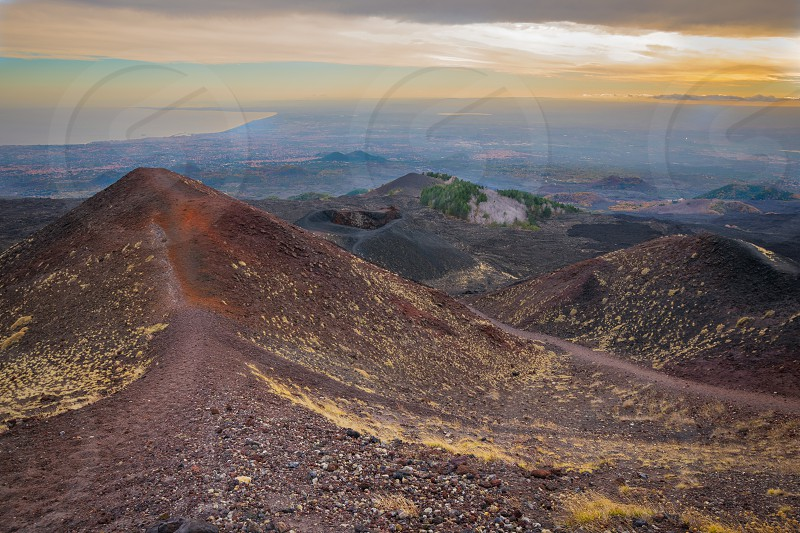 """Mount Etna the highest volcano in Europe. The photo was taken at the Silvestri craters in """"Rifugio Sapienza"""". photo"""