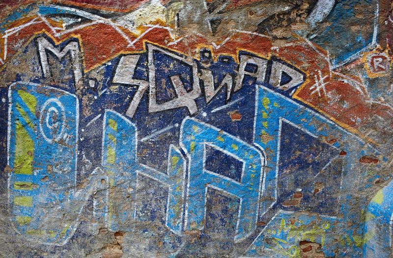 Graffiti wall. Modern street art. Barcelona Spain. photo