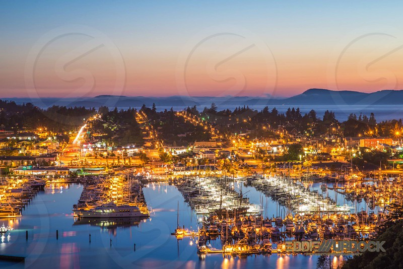 anacortes sunset marina cap sante puget sound bay islands san juan friday harbor yacht sailboat water blue sky sun night long exposure nikon blue hour  photo