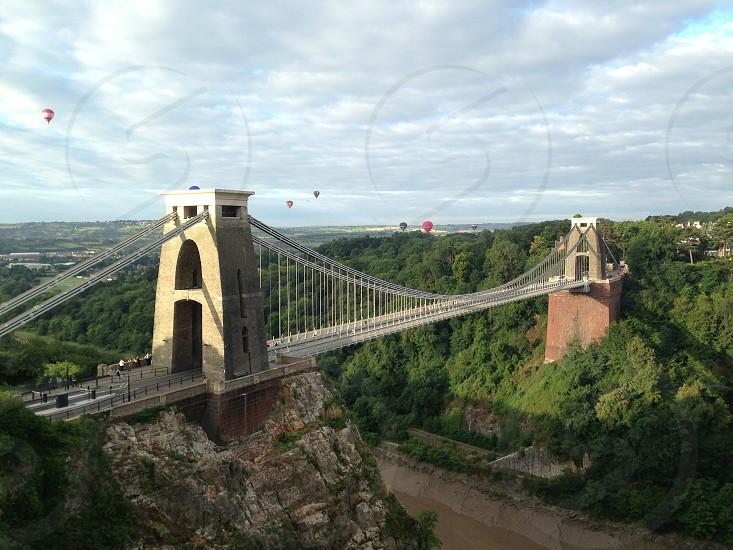 Hot air balloons over the Clifton Suspension Bridge Bristol UK photo